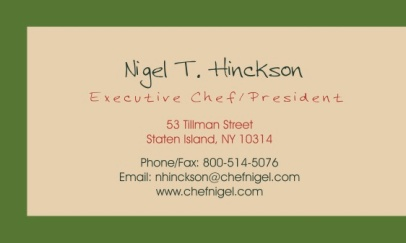 CHEF NIGEL BUSINESS CARD BACK