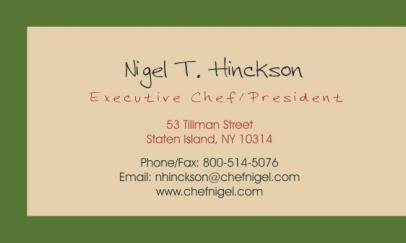 CHEF NIGEL BUSINESS CARD BACK