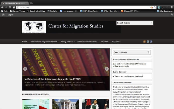 Website: The Center For Migration Studies Web SiteDesign
