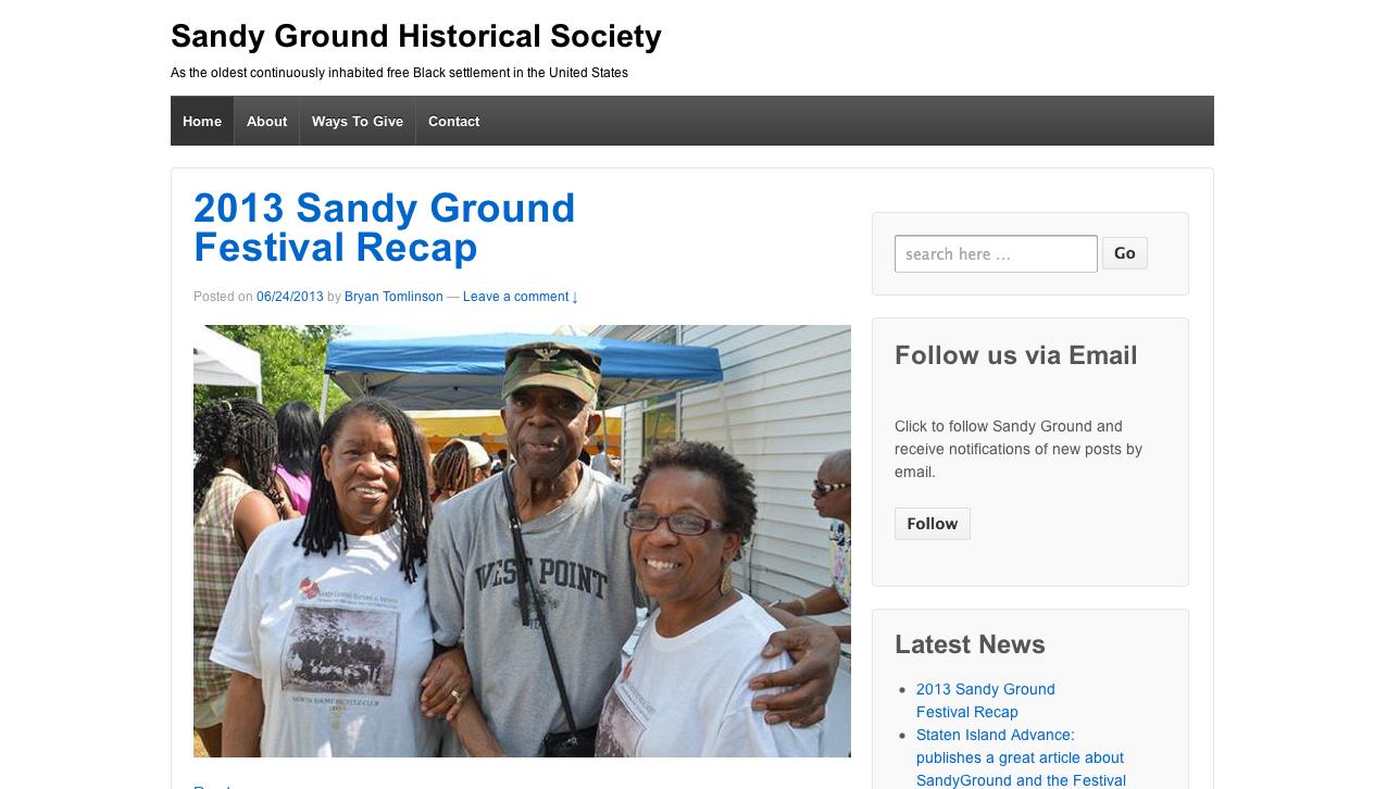 Web Design: Sandy Ground Historical Society
