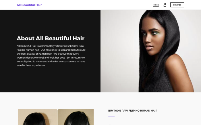 E-Commerce Site Design – All Beautiful Hair
